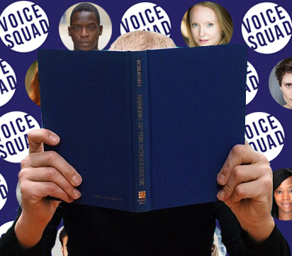 An audiobook narrator reading in front of a voice squad logo