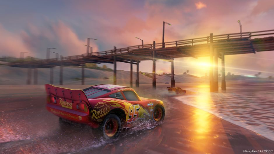 Cars 3 Driven to Win image from game trailer, illustrating trailer voice over done by Voice Squad artists