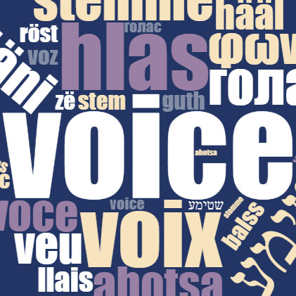 a cloud of translations of the word voice for educational voice overs